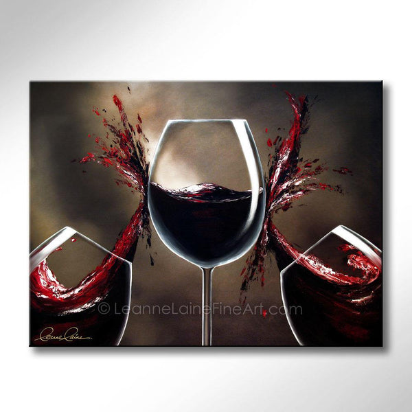 Leanne Laine Fine Art original artist painting of red wine splashing between wine glasses