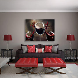 Leanne Laine Fine Art original artist painting displayed above couch of red wine splashing between wine glasses