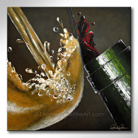 Leanne Laine Fine Art original artist painting of white wine in glass pouring and splashing with red from bottle