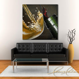 Leanne Laine Fine Art original artist painting displayed above couch of white wine in glass pouring and splashing with red from bottle