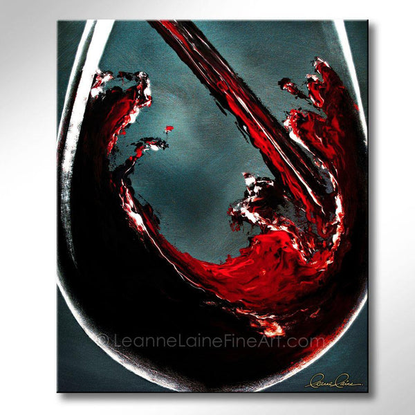 Leanne Laine Fine Art original artist painting of red wine pouring into large glass