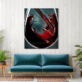 Leanne Laine Fine Art original artist painting displayed over couch of red wine pouring into large glass