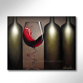 Leanne Laine Fine Art original artist painting of sexy red wine glass dancing splashing between three botlles