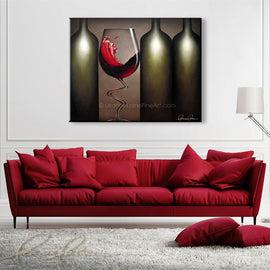 Leanne Laine Fine Art original artist painting displayed above couch of sexy red wine glass dancing splashing between three botlles