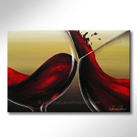 Leanne Laine Fine Art original artist painting of red wine swirling and splashing in glasses