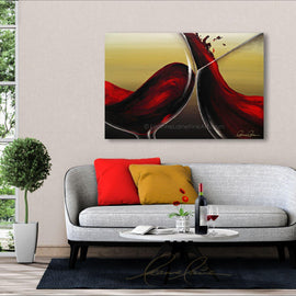 Leanne Laine Fine Art original artist painting displayed over couch of red wine swirling and splashing in glasses
