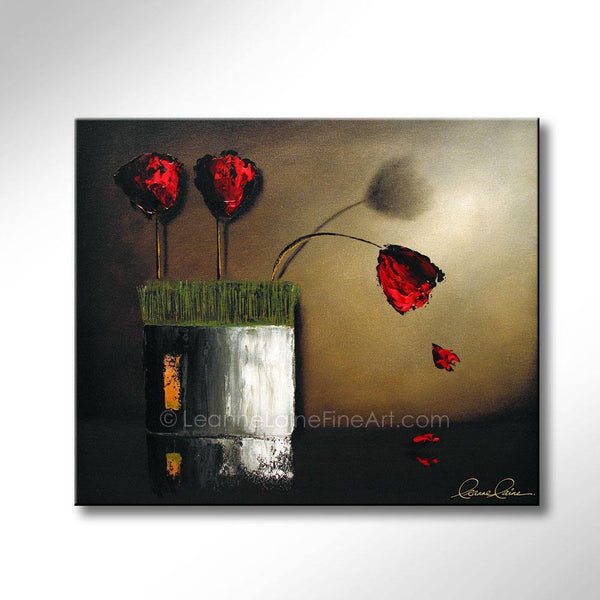 Leanne Laine Fine Art original artist painting of red tulip flowers and petals in vase with grass