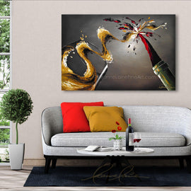 Leanne Laine Fine Art original artist painting displayed above couch of red and white wine pouring and splashing from bottle to glass