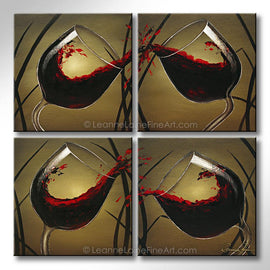 Leanne Laine Fine Art original artist painting of pouring splashing red wine into four glasses and grass