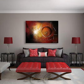 Leanne Laine Fine Art original artist painting displayed above couch of red yellow and white abstract shapes