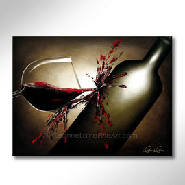 Leanne Laine Fine Art original artist painting of red wine splashes from glass onto bottle