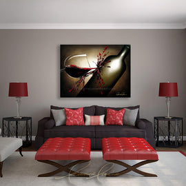 Leanne Laine Fine Art original artist painting displayed above couch of red wine splashes from glass onto bottle