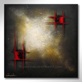 Leanne Laine Fine Art original artist painting of abstract red pattern squares against bright space