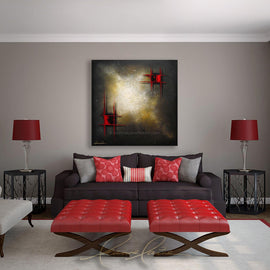 Leanne Laine Fine Art original artist painting displayed above couch of abstract red pattern squares against bright space