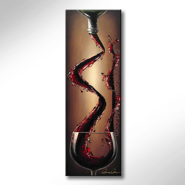 Leanne Laine Fine Art original artist painting of large glass splashing and pouring red wine from bottle