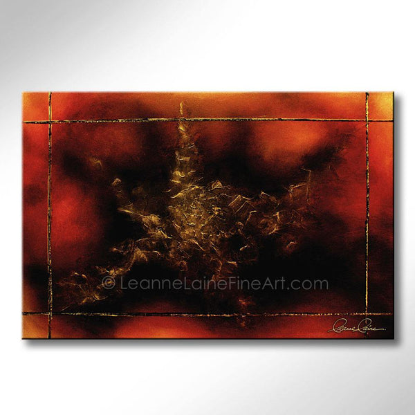Leanne Laine Fine Art painting of abstract  gold star against red and yellow background