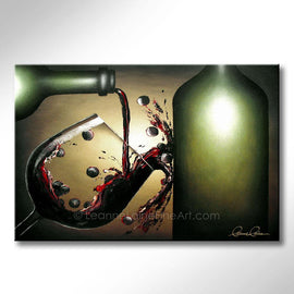 Leanne Laine Fine Art original artist painting of bottle pouring and splashing red wine and grapes