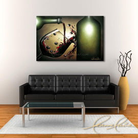 Leanne Laine Fine Art original artist painting displayed above couch of bottle pouring and splashing red wine and grapes
