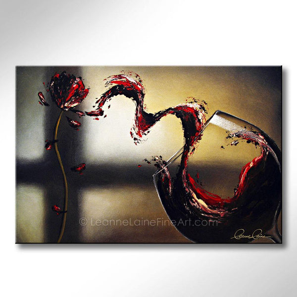 Leanne Laine Fine Art original artist painting of abstract wine with glass pouring and splashing flower petals