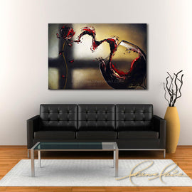 Leanne Laine Fine Art original artist painting displayed above couch of abstract wine with glass pouring and splashing flower petals