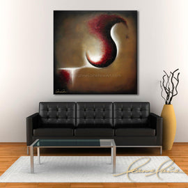Leanne Laine Fine Art original artist painting displayed above couch of abstract red and gold shapes