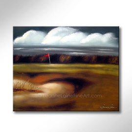 Leanne Laine Fine Art painting of windy day with flag blowing at the golf course by the water