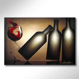 Leanne Laine Fine Art original artist painting of red wine splashing from glass kicking over three bottles