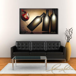 Leanne Laine Fine Art original artist painting displayed over couch of red wine splashing from glass kicking over three bottles