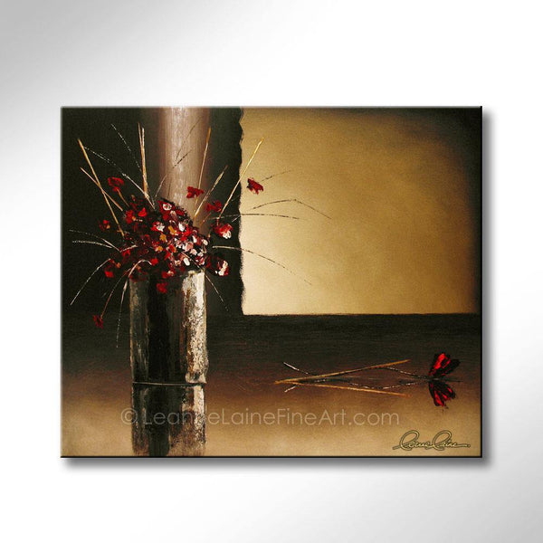 Leanne Laine Fine Art original artist painting of red flowers and grass in vase
