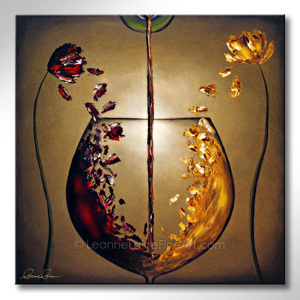 Leanne Laine Fine Art original artist painting of red and white wine splashing from flowers with petals in big glass from bottles