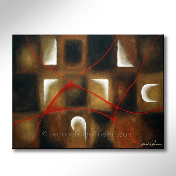 Leanne Laine Fine Art original artist painting of abstract patterns with red lines