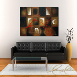 Leanne Laine Fine Art original artist painting displayed above couch of abstract patterns with red lines