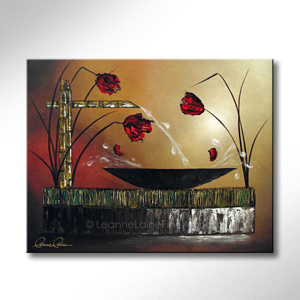 Leanne Laine Fine Art original artist painting of zen peaceful bamboo fountain pouring into bowl with red flowers