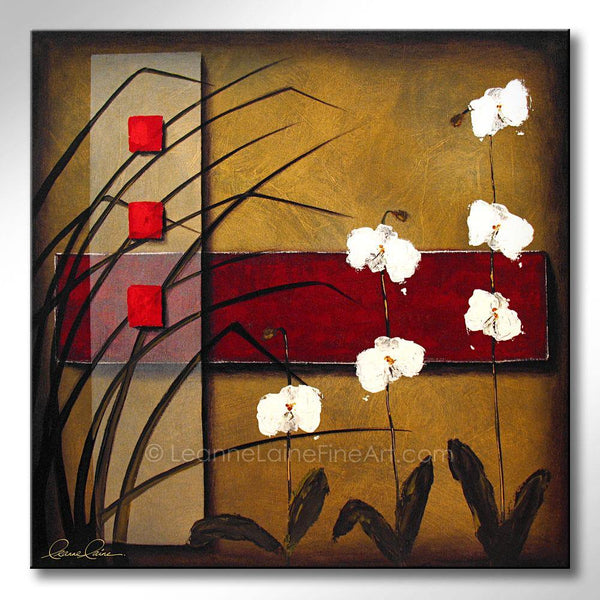 Leanne Laine Fine Art original artist painting of peaceful zen white flowers with grass and red gold background