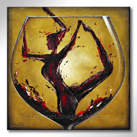 Leanne Laine Fine Art painting of woman in yoga pose in red wine pouring into a big wine glass