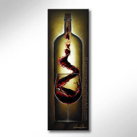 Leanne Laine Fine Art original artist painting of woman in wine genie rising out of red glass inside wine bottle