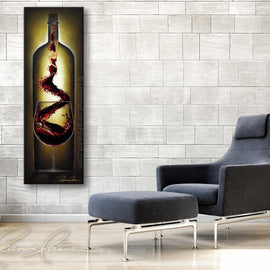 Leanne Laine Fine Art original artist painting displayed above chair of woman in wine genie rising out of red glass inside wine bottle