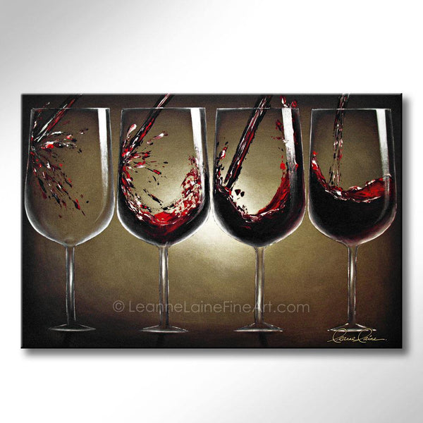 Leanne Laine Fine Art original artist painting of red wine splashing and pouring into glasses from empty to full