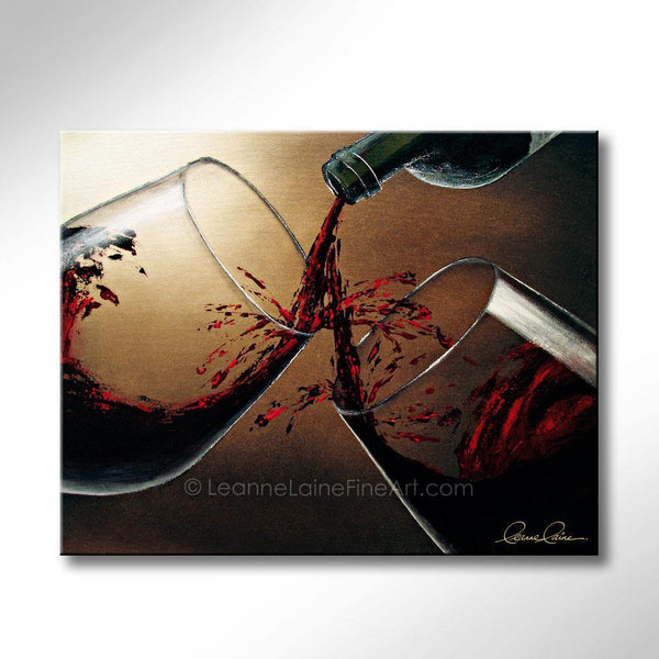 Leanne Laine Fine Art original artist painting of a bottle pouring splashing red wine into two glasses