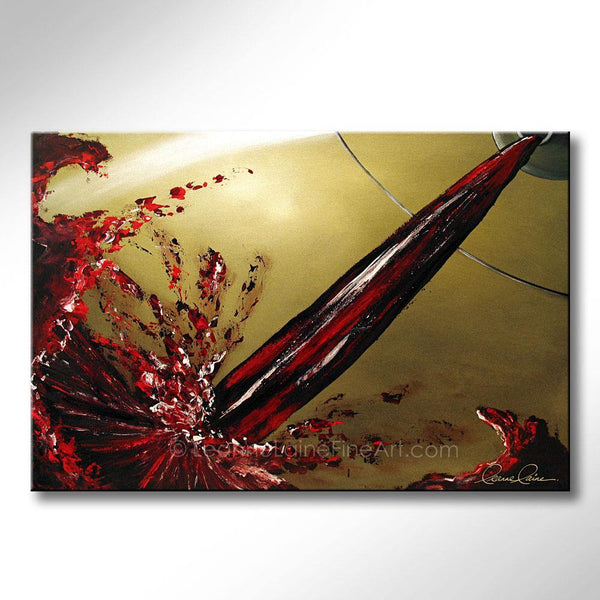 Leanne Laine Fine Art original artist painting of inside wine glass with pouring and splashing wine from bottle