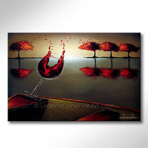 Leanne Laine Fine Art painting of red wine splashing and pouring from boat canoe into tree leaves on the lake