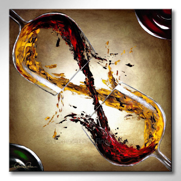 Leanne Laine Fine Art original artist painting of bottles beside two glasses splashing and pouring red and white wine into a figure eight