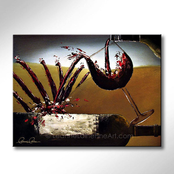 Leanne Laine Fine Art original artist painting of red wine pouring and splashing from glass onto bottle creating winery vineyard landscape
