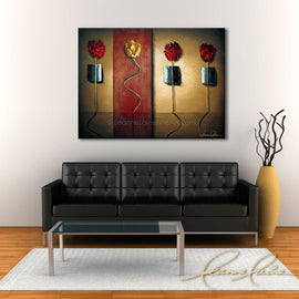 Leanne Laine Fine Art original artist painting displayed above couch of red and yellow roses flowers standing and dancing