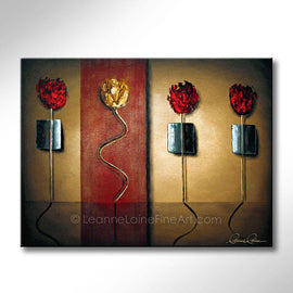 Leanne Laine Fine Art original artist painting of red and yellow roses flowers standing and dancing