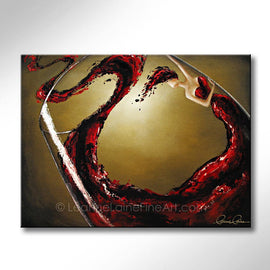 Leanne Laine Fine Art original artist painting of woman in wine in red glass swirling