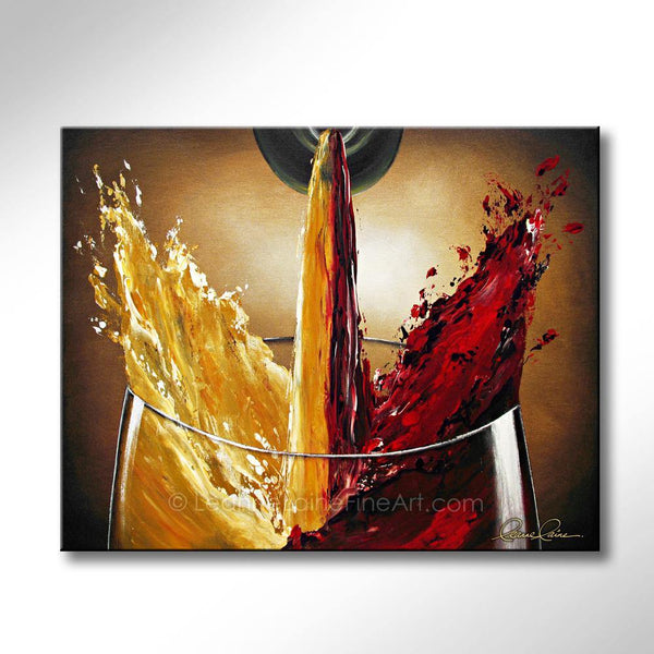 Leanne Laine Fine Art original artist painting of red and white wine splashing together from bottle to glass