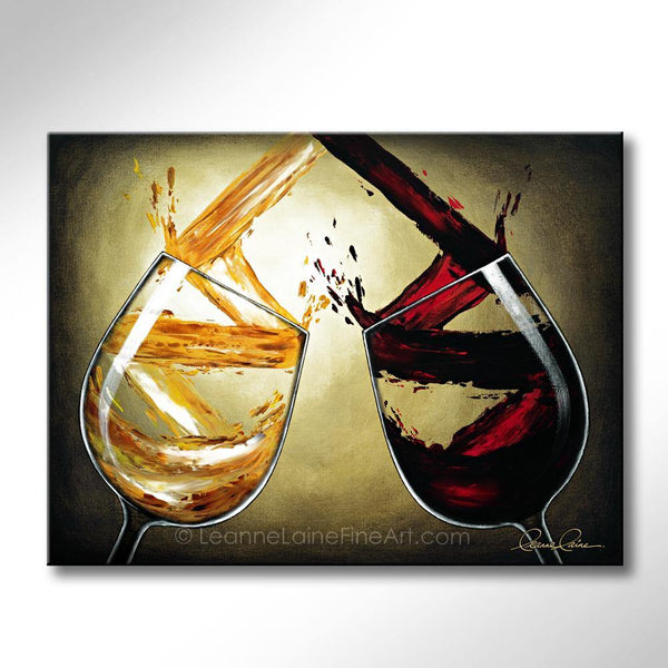 Leanne Laine Fine Art original artist painting of red and white wine swirling splashing pouring into glasses