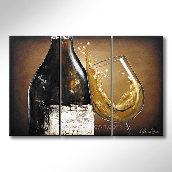 Leanne Laine Fine Art original artist painting of wine bottle with customized year label