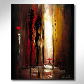 Leanne Laine Fine Art original artist painting of couple in city alley talking with person walking by with red umbrella